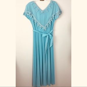 Vintage | Pleated Maxi Dress Blue